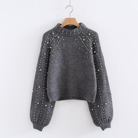 Pearl Beading Turtleneck Winter Knitted Sweater Women Lantern Sleeve Loose Gray Pullover Female Soft Warm Autumn