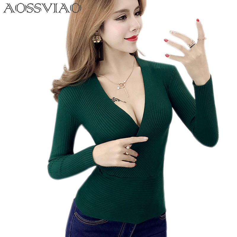 AOSSVIAO 2019 Spring High Elastic Knitted Sweater Woman Sexy V-Neck Women Sweaters And Pullovers Korean Long Sleeve Pull Femme