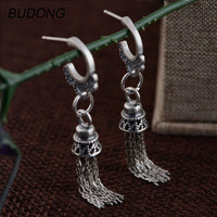 BUDONG Real 925 Sterling Silver Drop Dangle Earring for Women Vintage Oxidation S925 Silver Long Tassel Engagement Fine Jewelry