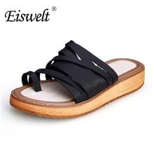 Eiswelt/модные сандалии-гладиаторы Тапочки Летние вьетнамки повседневные туфли на плоской подошве # ZJF25