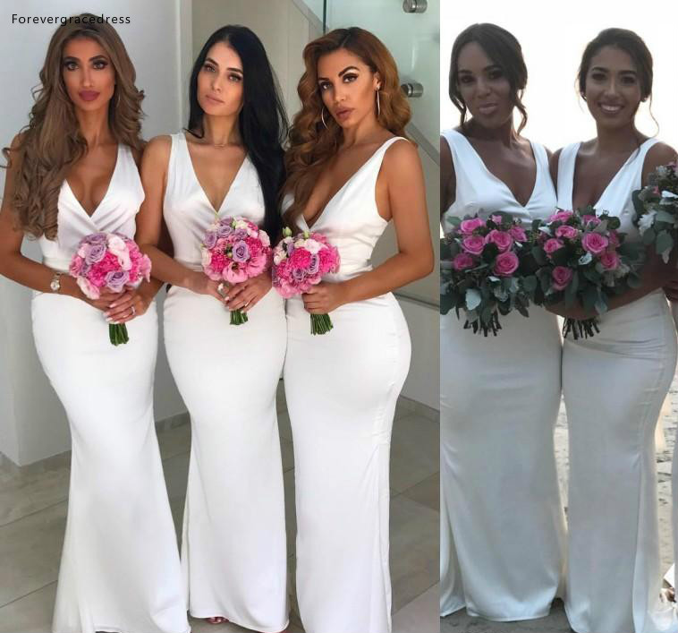 Deep V Neck   Bridesmaid     Dresses   2019 Long Boho Summer Country Garden Formal Wedding Party Guest Maid of Honor Gowns Plus Size