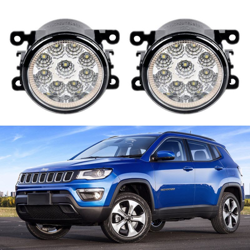 Car Styling For Jeep Compass 2017 9-Pieces Leds Chips LED Fog Light Lamp H11 H8 12V 55W Halogen Head Fog Lights miumiu car lights 1pcs h7 super bright white fog halogen bulb 55w car head light lamp 12v