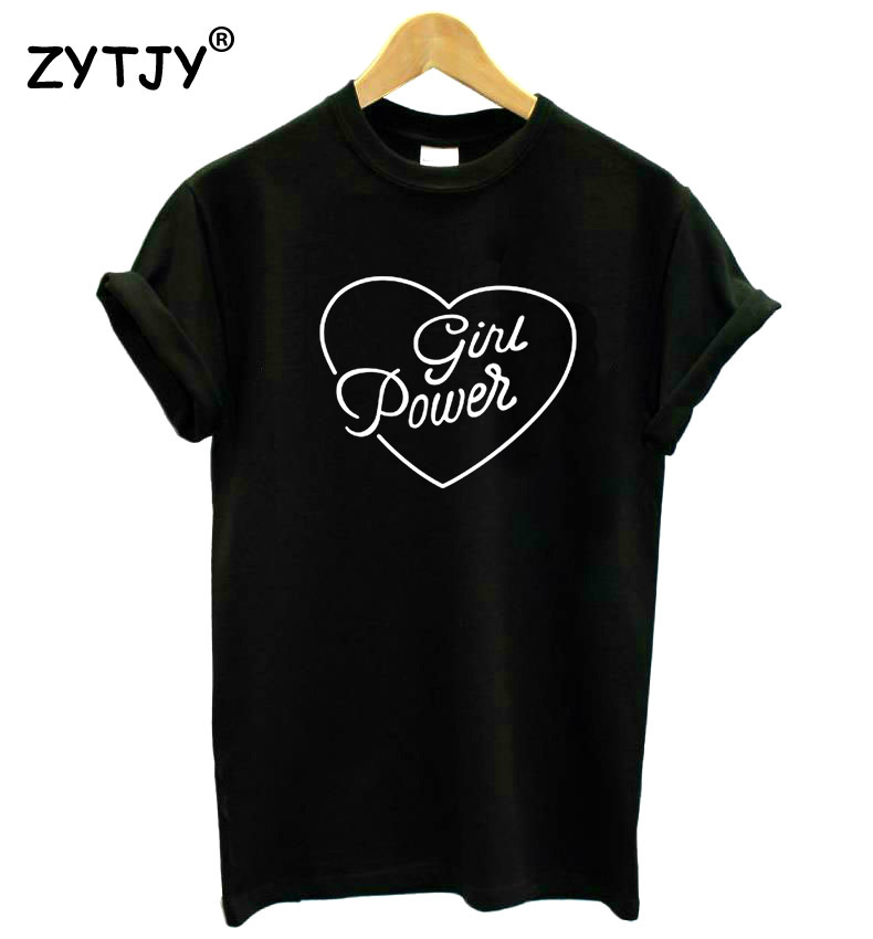 Girl Power Heart Feminist Print Women tshirt Cotton Casual Funny   t     shirt   For Lady Girl Top Tee Hipster Drop Ship Z-1175