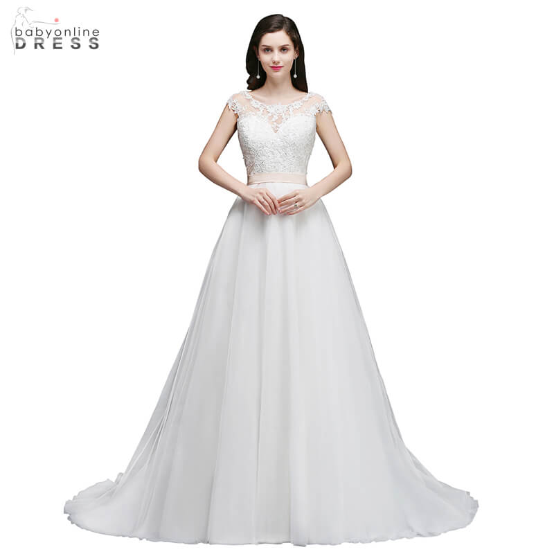 Elegant O Neck A Line Tank Lace Appliques Bride Dresses Cheap Court Train V Back Design Wedding Gowns With Sashes Nikah Elbisesi