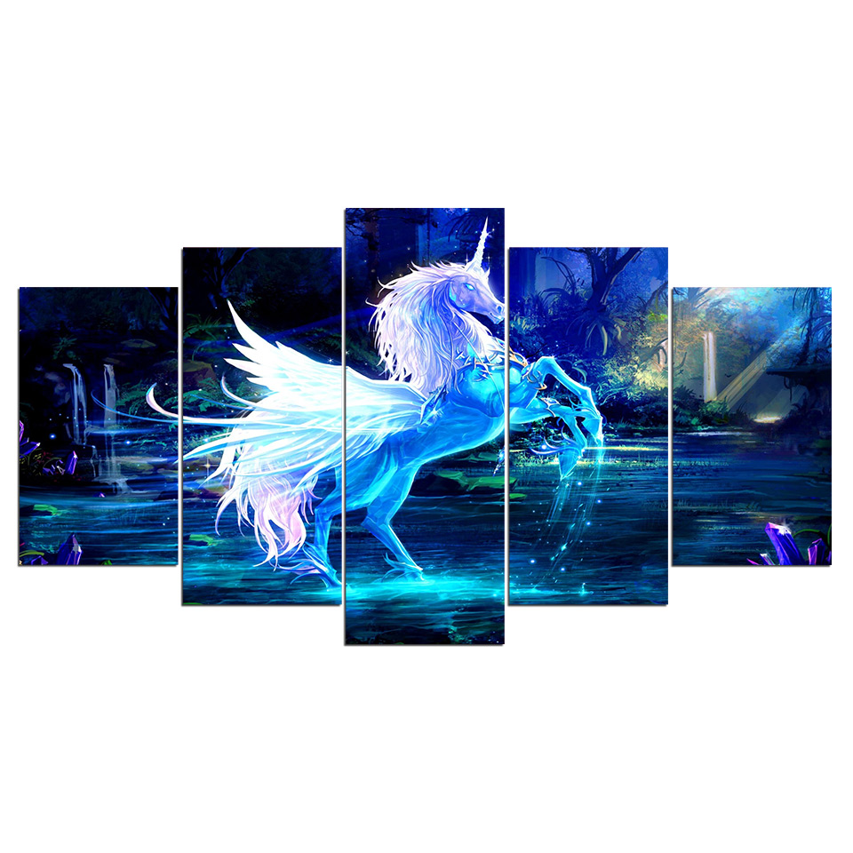 Wall Art on Canvas 3D Unicorn Horse Picture Home Decoration Modern 5 panel Canvas Painting Print Poster for Wall Decor F013 in Painting Calligraphy from Home Garden