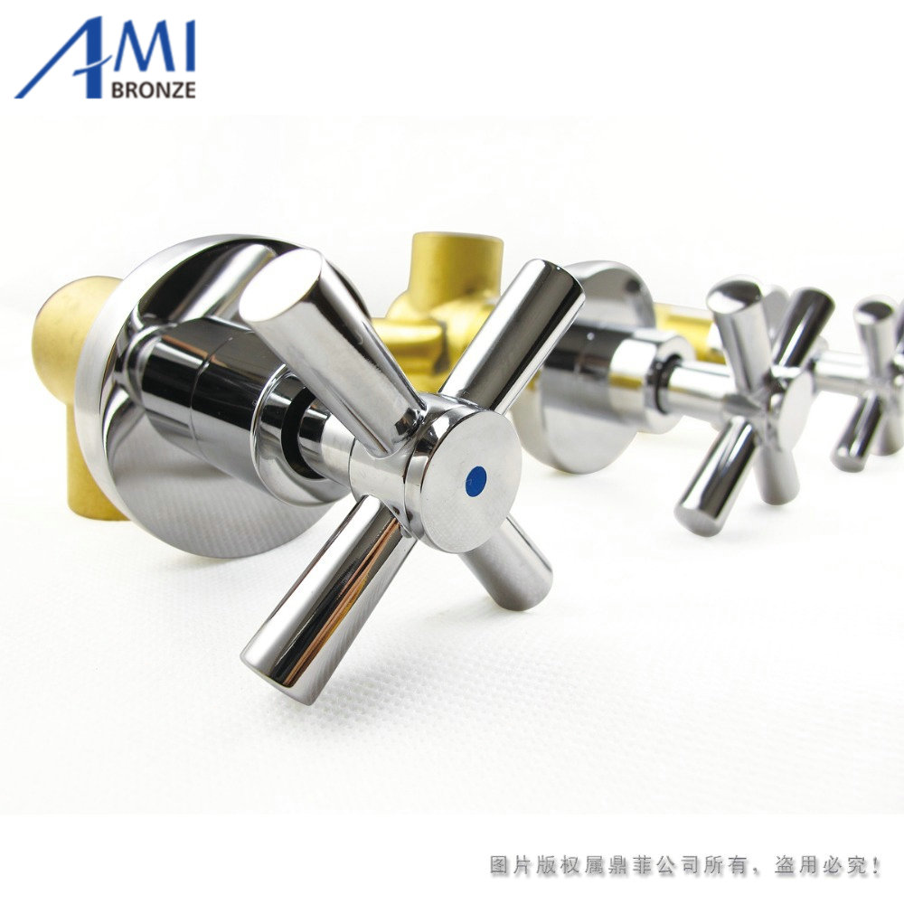 shower faucet valve panel 3 handwheel four-way 2 outlets bathroom bath and mixer tap in-wall chrome brass free shipping polished chrome finish new wall mounted waterfall bathroom bathtub handheld shower tap mixer faucet yt 5333