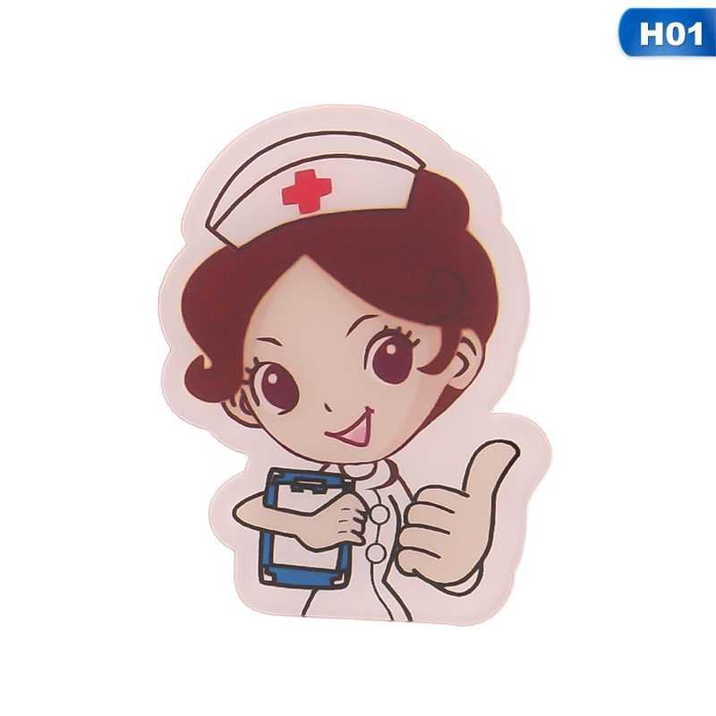 Kartun Lencana Gratis Pengiriman Dokter dan Perawat Ikon Acrylic Bros Baju Ransel Putih Malaikat Dekorasi Pin
