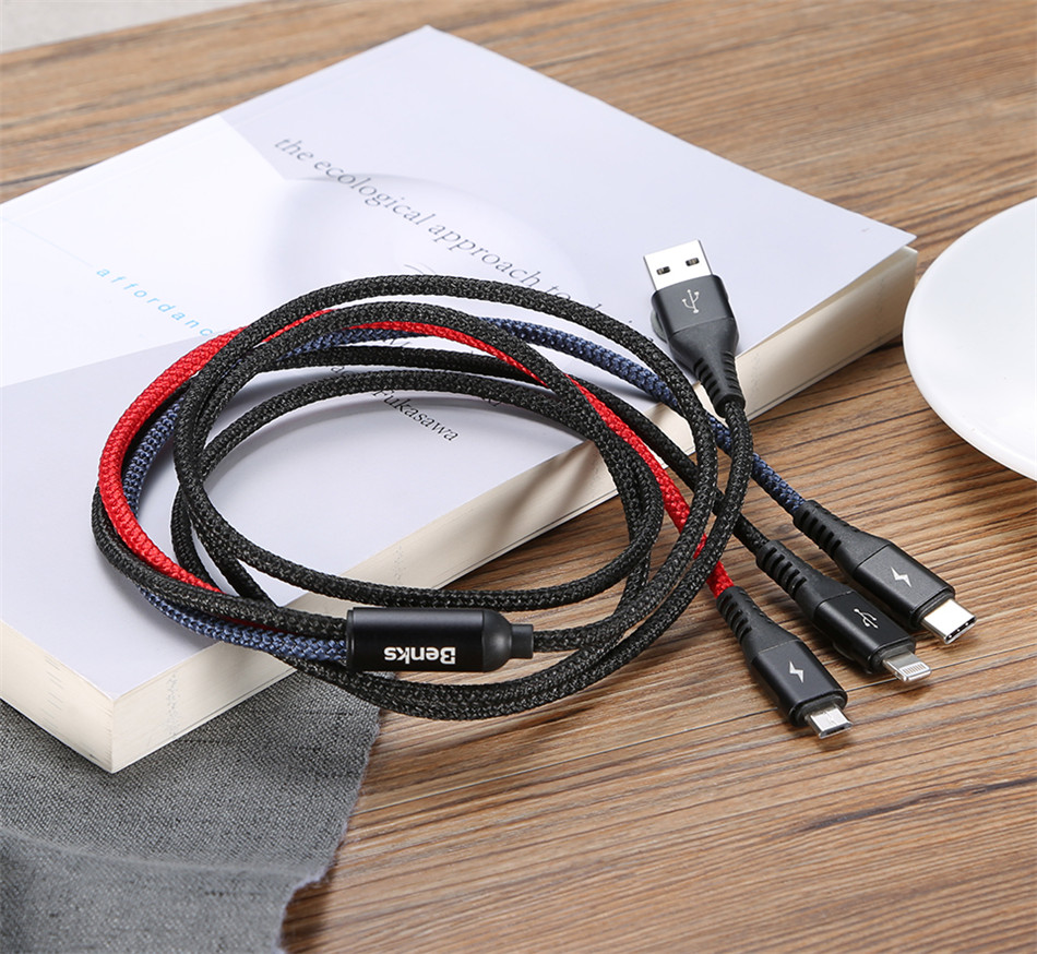 Benks Universal 3 In 1 Lighting Charger Cable For iPhone X 7 8 6 Plus Micro USB Type C For Oneplus Xiaomi 5 Phone Charging Cable (16)
