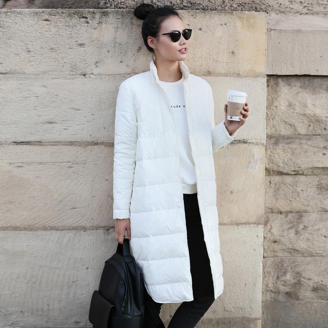 LYNETTE CHINOISERIE 2016 de invierno de color sólido recto diseño largo y delgado más tamaño abajo mujeres escudo abrigos