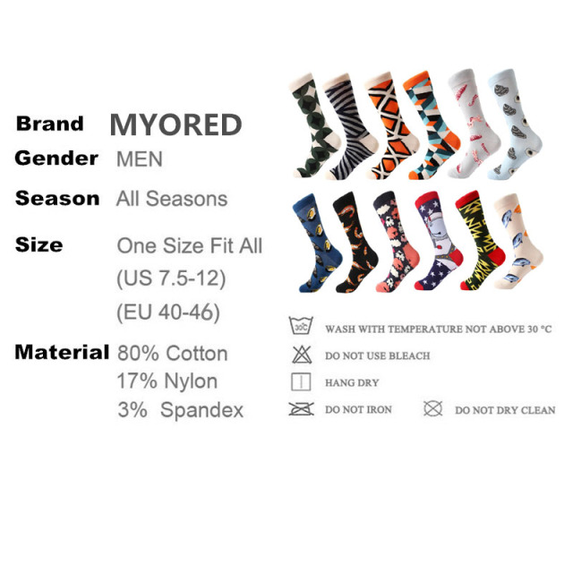 MYORED 12 Pair / Lot Novelty For Men Colorful Love Star Diamond Combed Cotton Dress Wedding Girls Socks Funny Casual Crew Party