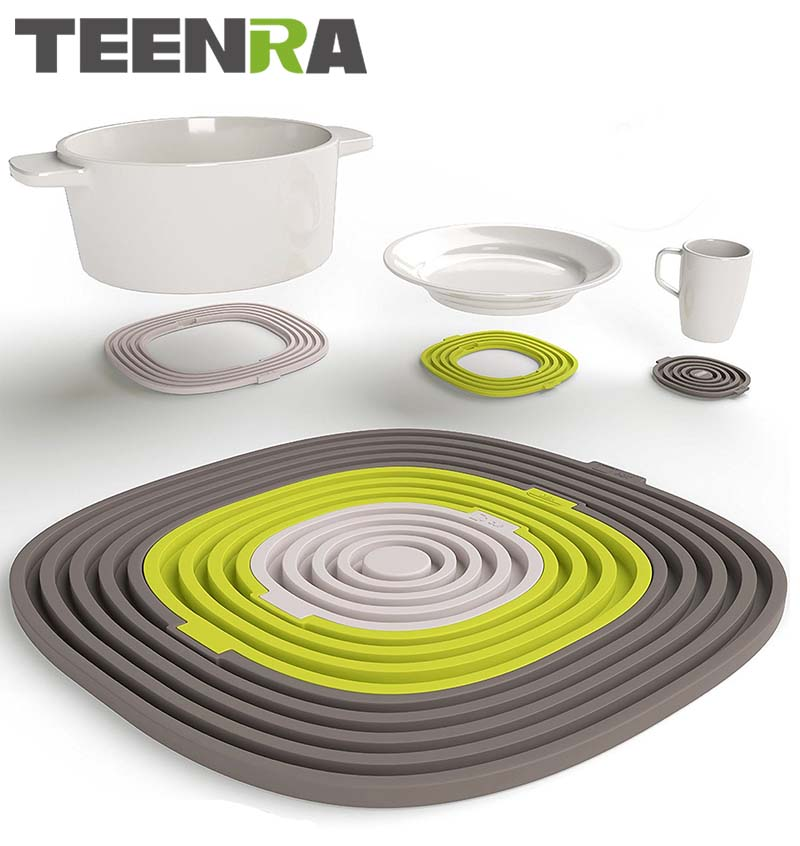 TEENRA 3Pcs / set Silicona Pot Holder Plate Mat Mat Pad Pad Resistente al calor Mesa Mantel Vajilla Pot Mat Placa aislada Coaster