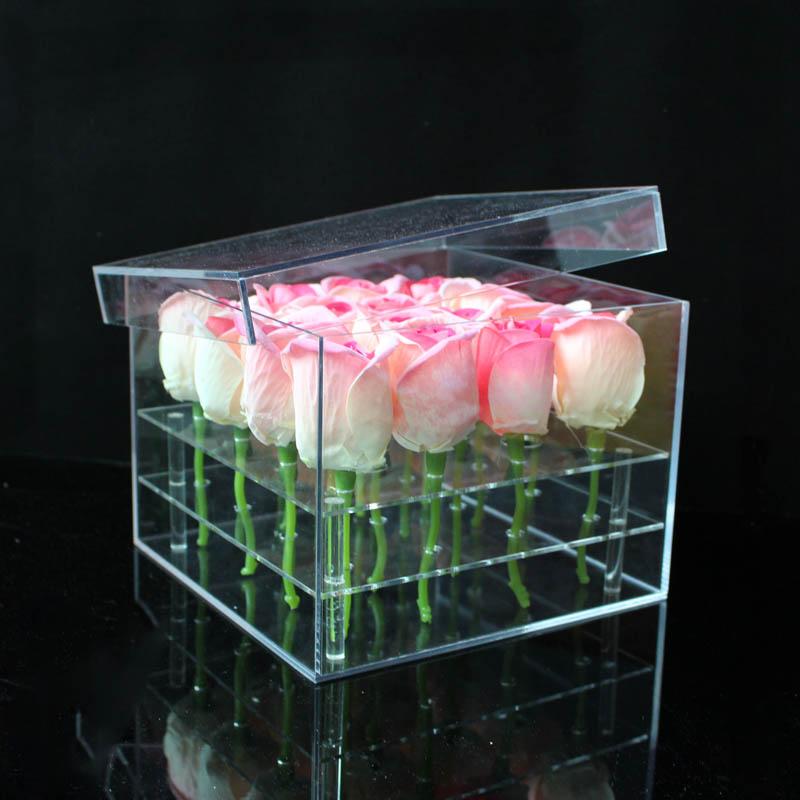 مادة الاكريليك ماكياج المنظم مربع التجميل حالة روز صندوق زهور مع غطاء ماكياج المنظم صندوق تخزين لزهرة-في صناديق وعلب تخزين من المنزل والحديقة على  مجموعة 2