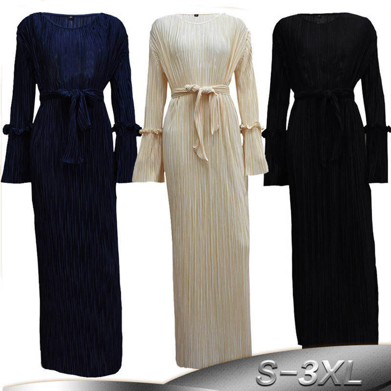 2019 Abaya Dubai Turkey Arabic Elbise Pleated Muslim Hijab Dress Qatar Abayas Caftan Women Vestidos Turkish Islamic Clothing