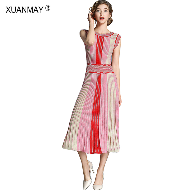 2019 Summer Fashion Designer Women Colorful Stripe Bohemia Sweater Dress Summer Style Slim Sexy Red Long Knit Vest Dress