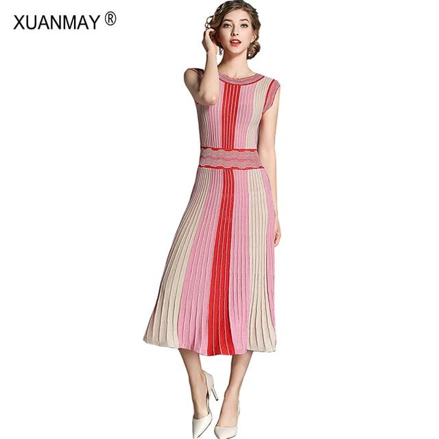 2019 Mùa Hè Thiết Kế Thời Trang Phụ Nữ Sọc Đầy Màu Sắc Bohemia Áo Len Váy Mùa Hè phong cách Mỏng Sexy Red Dài Đan Vest Váy