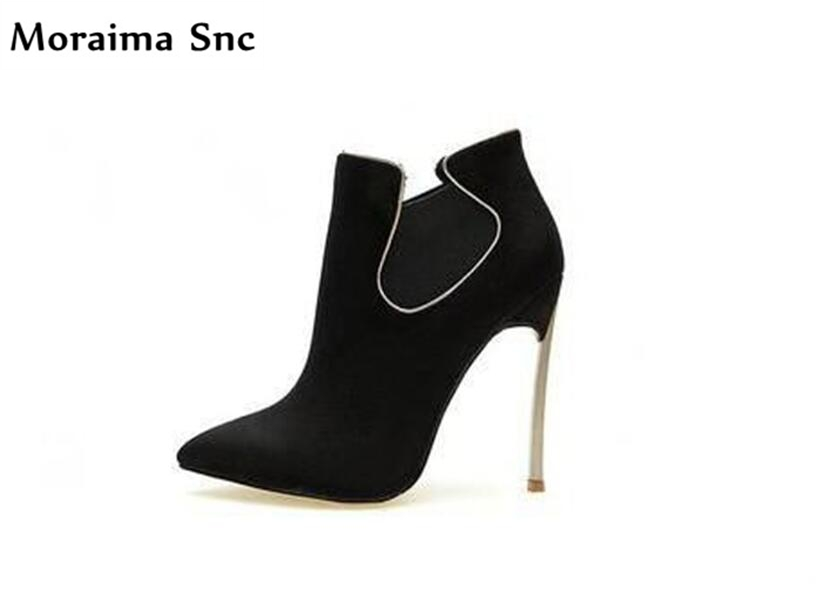 Moraima Snc Spring Autumn Ankle women boots high heel platform sexy women thin heel riding boots vintage suede party shoes moraima snc chic women winter platform pointed toe mid calf boots solid black lace up fringe vintage suede high heel