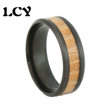 8mm Black Stainless Steel Men Rings KOA Wood Kashiwagi Fashion Vintage Wedding Jewelry Anel Bijoux Bague Ring USA Size 6 To 12