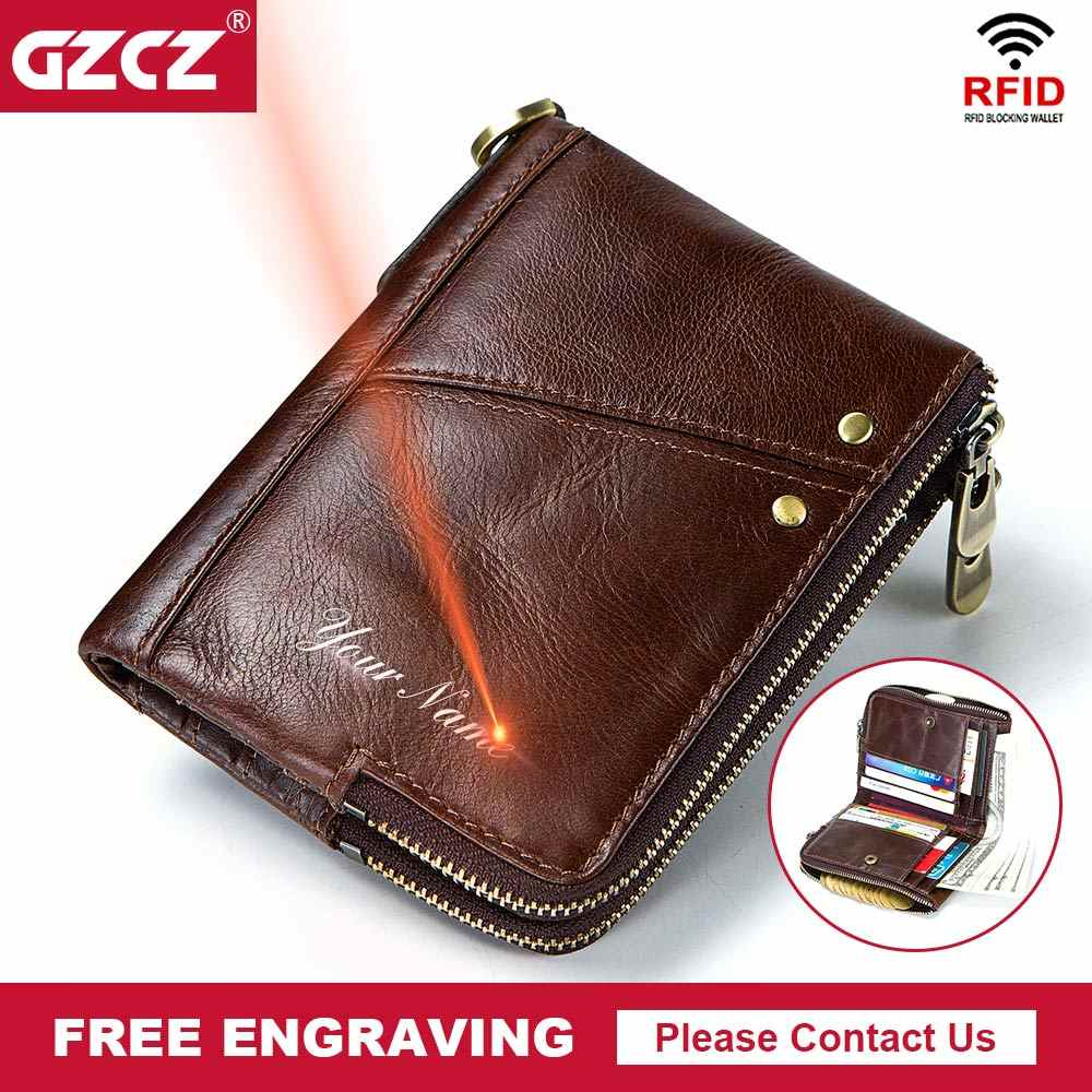 9ed9ddad6b768 GZCZ New Men Rfid Cowhide Leather Wallet Slim Walet Male Short Coin Purse  Free Engrave Card