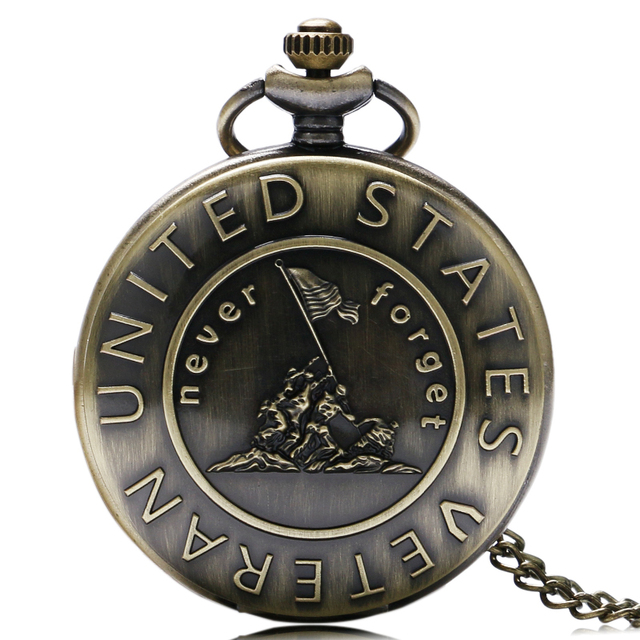"""Remember The History """"United States Veteran"""" Bronze Pocket Watch With Necklace C"""