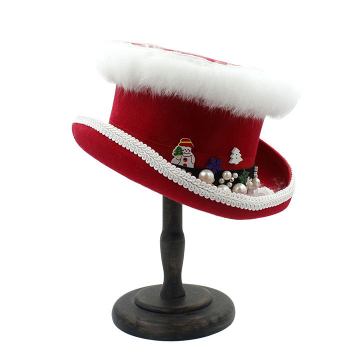 42c962d58b7 Top Hat 15cm(5.89inch) 100% Wool Red Women Christmas Top Hat For ...