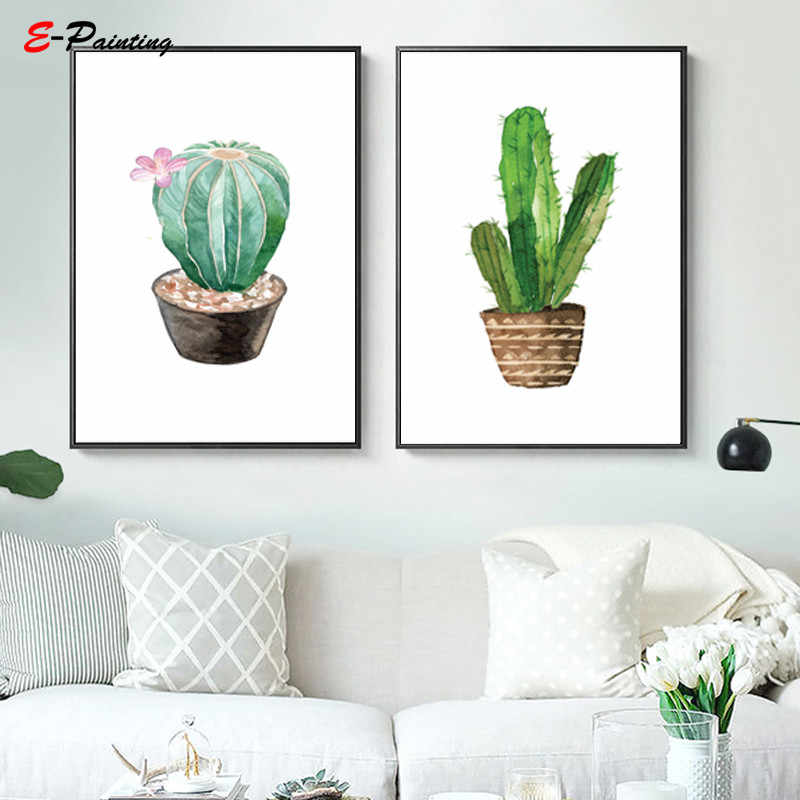 Christmas Succulent Gift.Modern Wall Art Cacti Floral Plant Print Cactus Succulent Kitchen Home Decor Canvas Painting Poster Christmas Gift For Mom