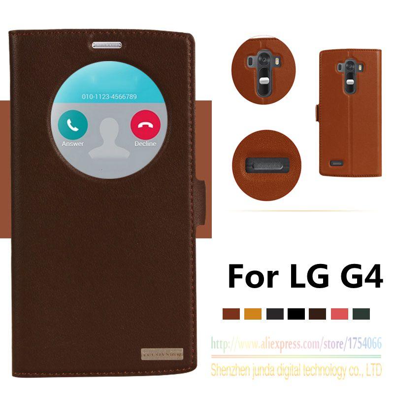 imágenes para Cuero genuino superior imán ventana case para lg g4 h818 h815 h810 inteligente soporte del tirón de lujo del cuero del teléfono móvil cubierta