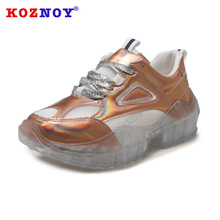 Koznoy Sneakers Women Spring Students Leisure Dropshipping Korean Crystal Sewing Flat Bottom Fashion Breathable Shoes