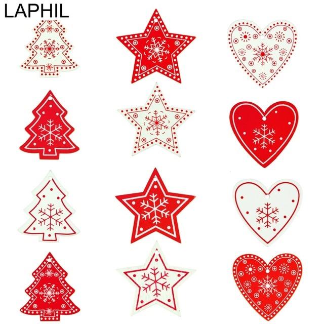 laphil 20pcs snowflake christmas wooden pendants ornaments merry
