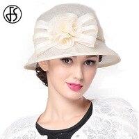 FS Élégant Large Linge de Bord Chapeau Avec Des Fleurs Chapeaux De Mariage Ivoire Kaki Rose Cap Dames Vintage Chapeau D'été Pour Femmes