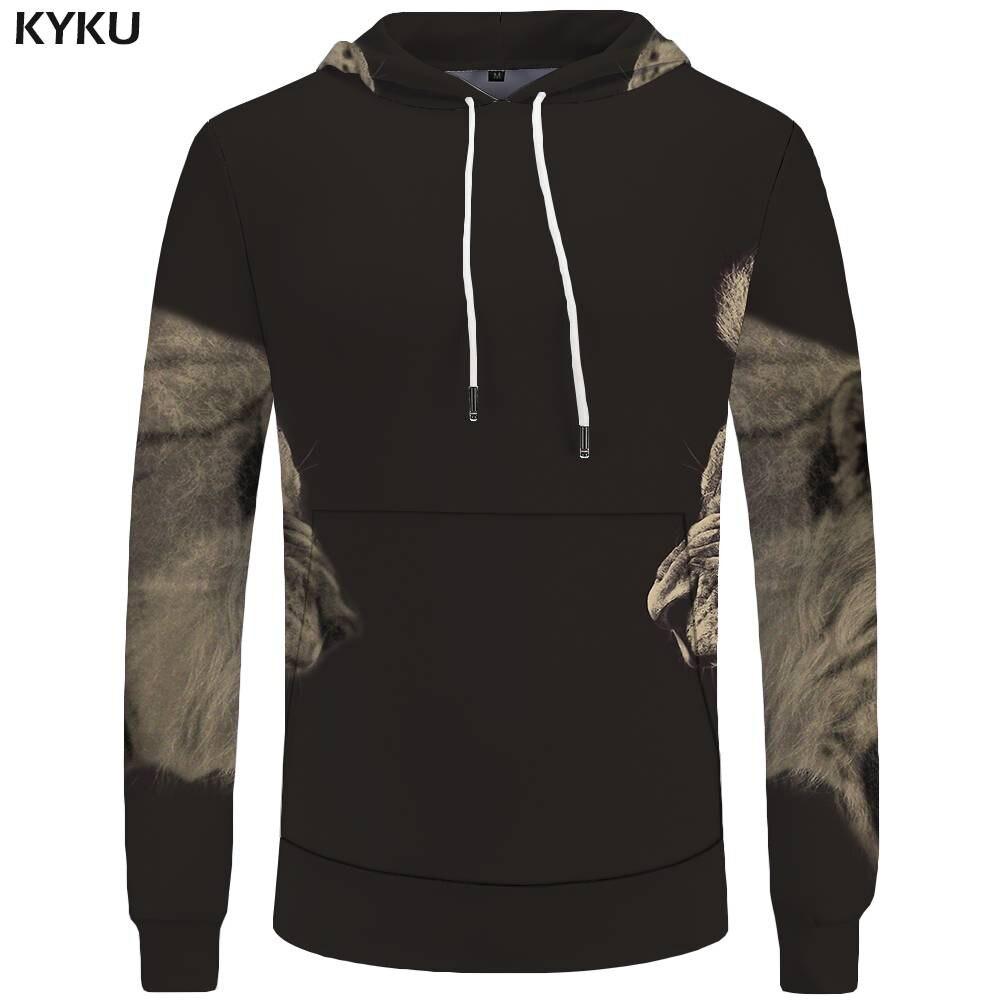 KYKU Lion Hoodies Men Tiger Sweatshirts Battle Sweatshirt Animal 3d Hoodies Pocket Big Size Hoddie Cool New Casual Male