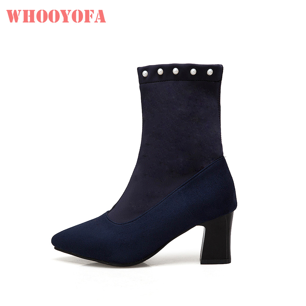 Riding-Boots Causal-Shoes High-Heels Comfortable Black Winter Big-Size Women Brand-New