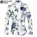 2017 Весна Мужские Темно-Синий Клетчатую Рубашку Плюс Размер М-7XL С Длинным Рукавом Цветочные Рубашки Для Мужчин DT258