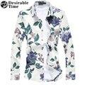 2017 Primavera Mens Camisa Xadrez Plus Size M-7XL Azul Marinho Manga Comprida Camisas Florais Para Homens DT258