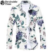 2017 Spring Mens Navy Blue Plaid Shirt Plus Size M-7XL Long Sleeve Floral Shirts For Men DT258