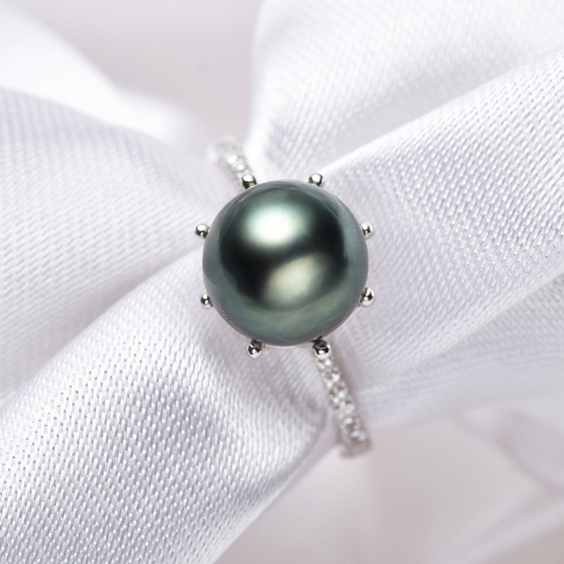 [YS] Crown Dizayn Üzük 925 Sterling Gümüşü 8-9mm Təbii Qara - Gözəl zərgərlik - Fotoqrafiya 4
