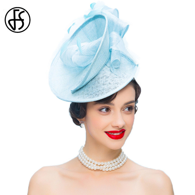 FS Fascinators Hats For Woman Elegant Sky Blue Ladies Sinamay Formal  Wedding Dress Pillbox Hat With 7f9f33fb038