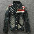 Продавец сша синий Fit американский флаг джинсовая куртка старинные джинсовой пальто подходящую балахон уменьшают модным с длинным рукавом M / L / XL / XXXL / XXXXL