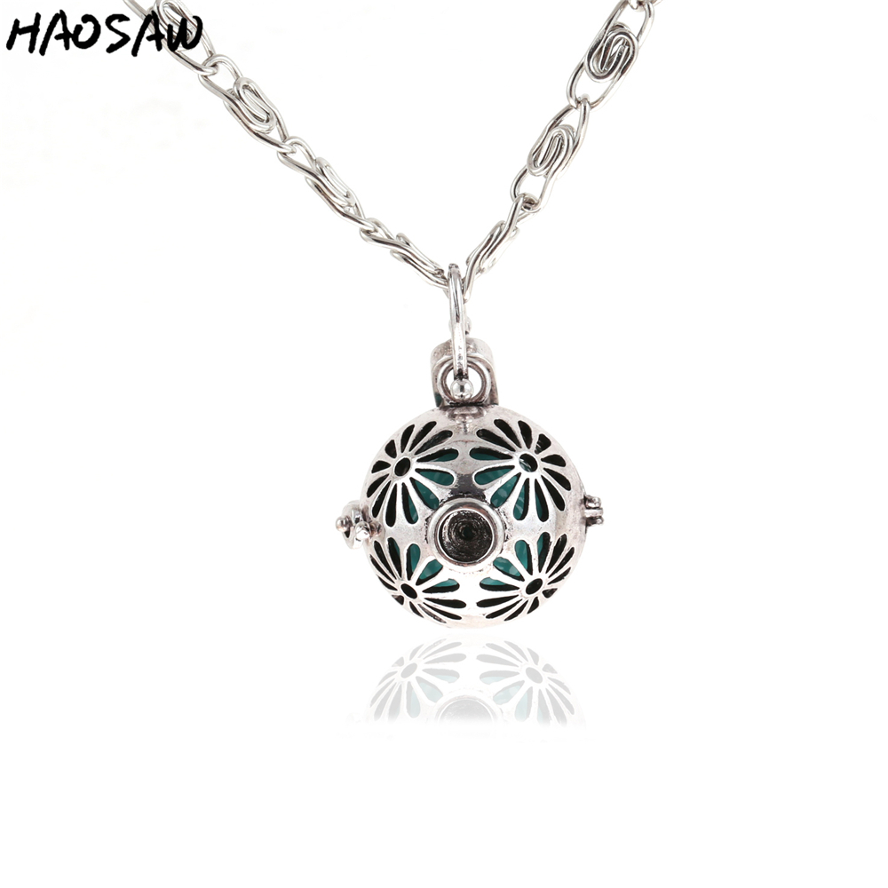 26mm Fashion Necklace Flower Hollow Cage Magic Box Bell