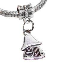 100pcs Ancient silver Mushroom House Fairytale Pendants Charms Bead fits Silver European Bracelets 27 mm x 10 A4566HD