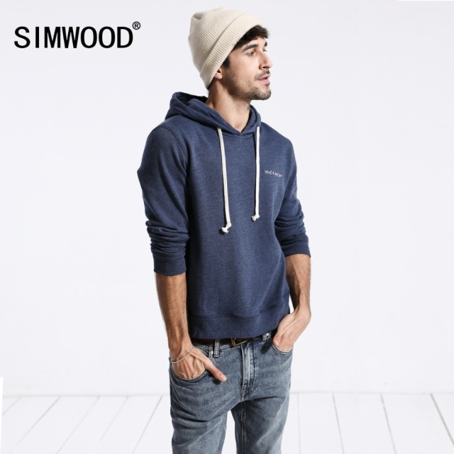 SIMWOOD Sweatshirts men solid color casual hoodies  2018 autumn new embroidered hooded pullover joggers hoodie plus size 180211