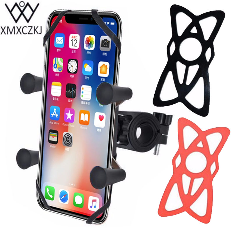 XMXCZKJ Bike Holder Bicycle Motorcycle Handlebar Mount Holder Phone Stand With Silicone Support Band For Smartphone GPS X-Grip