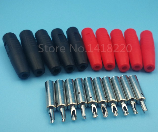 200Pair Copper 4mm Silicone Insulated Banana Female Jack Socket Plug ...