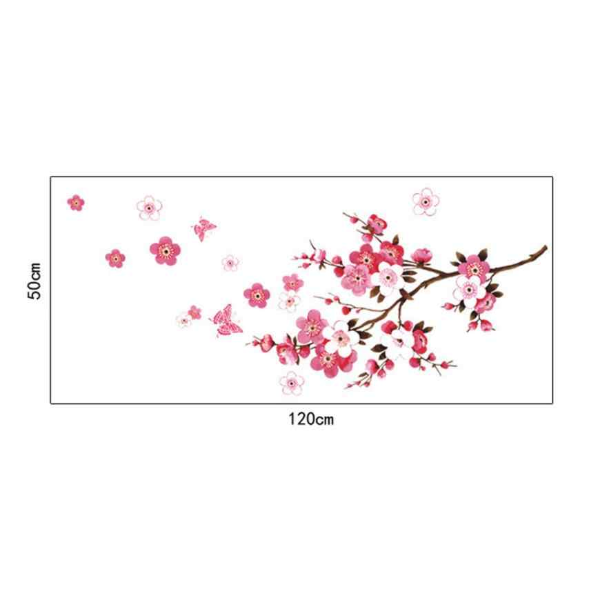 Wall Sticker Living room bedroom background Hot Fashion Peach Blossom Flower Butterfly Wall Stickers Vinyl Art Decals Apr13
