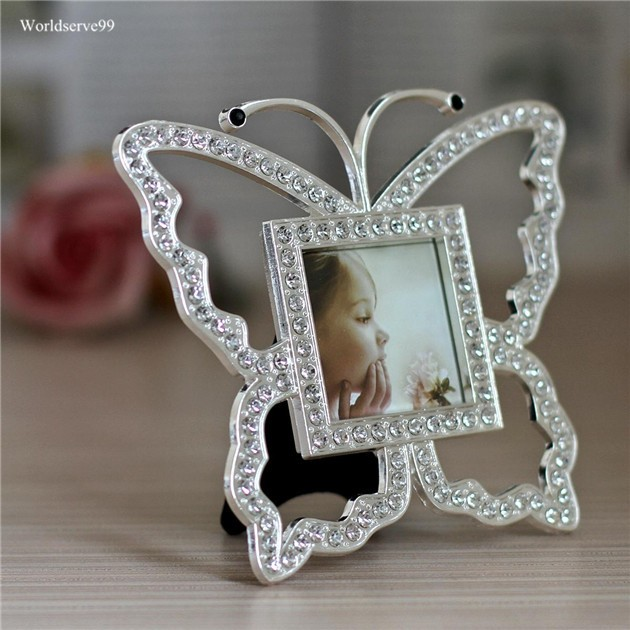 2inch Butterfly Rhinestone Kids Photo Picture Frames Crystal Metal ...