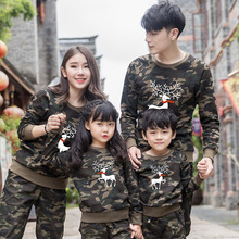 2018 Christmas Family Look Deer Mommy and Me Clothes Matching Family Clothing Sets Mother Daughter Father Baby Long sleeve недорого