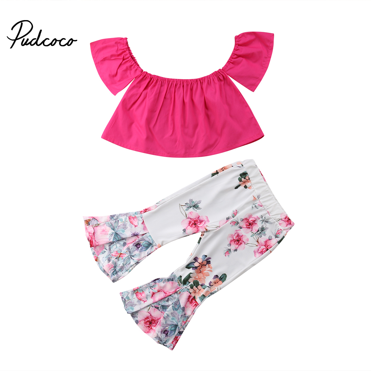 Pudcoco Toddler Baby Girls Summer Clothing Set Off Shoulder Tops Long Flare Flower Pants Leggings Kids Children Clothes
