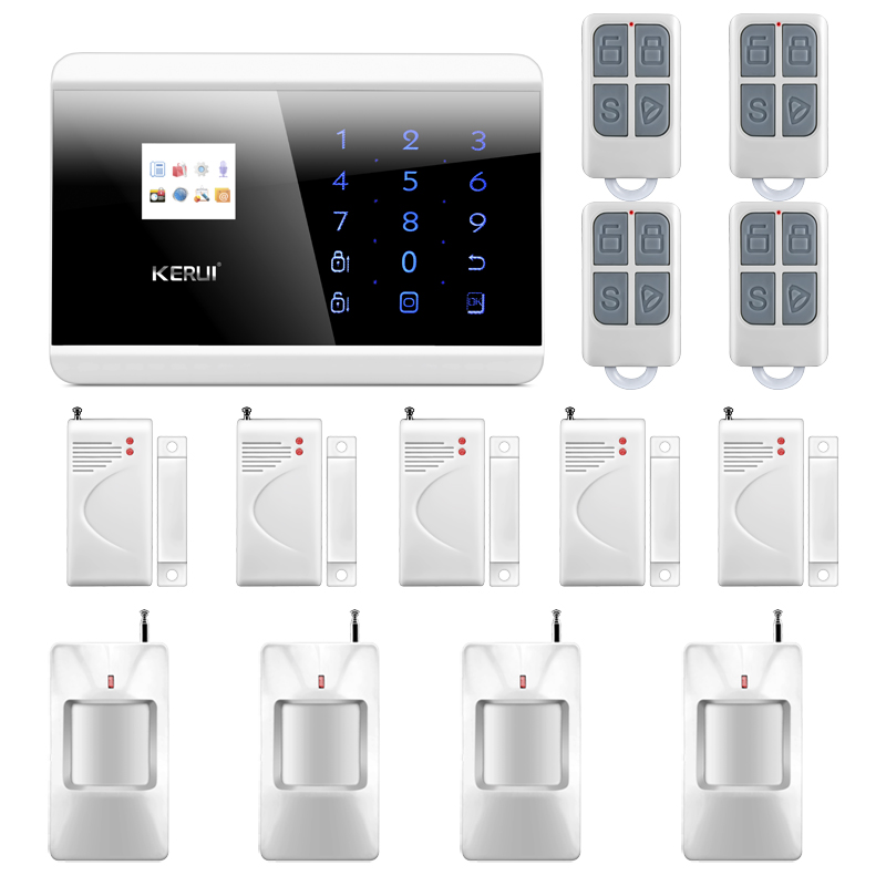 8218G Wireless GSM PSTN Home Alarm System Android iOS APP with Touch Screen Backup Lithium  English&Russian Language 868mhz wireless gsm alarm system 7 inch touch screen home alarm with bulit in lithium battery with wireless outdoor solar siren