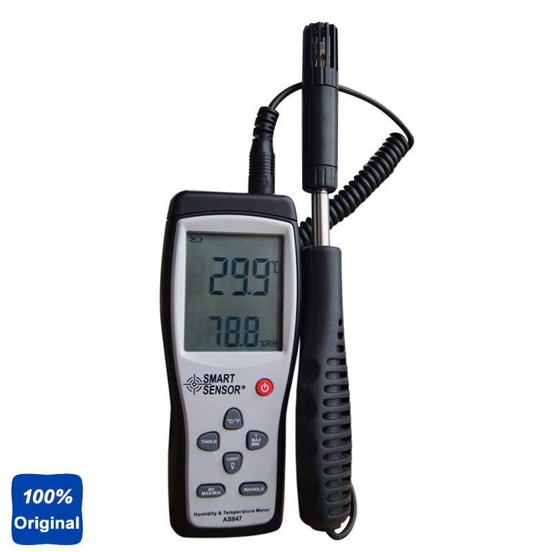 100% Original AS847 Potable Humidity Temperature Meter 2in1 K Type Thermocouple digital indoor air quality carbon dioxide meter temperature rh humidity twa stel display 99 points made in taiwan co2 monitor