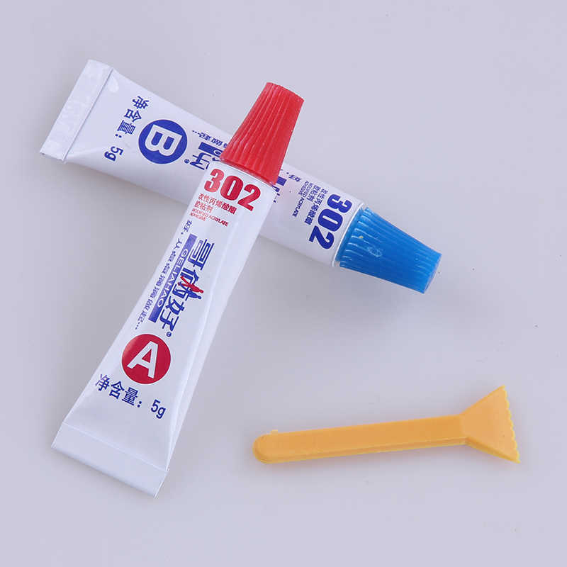 AB glue total 10g metal rubber universal glue 302 glue epoxy resin super metal PVC ABS ceramic tile wood glue free shipping