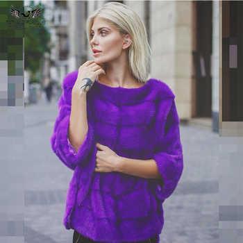 Tatyana furclub Real Fur Coat Pink Fur Natural Mink Fur Coat Winter Fur Jacket For Women Casual Tops O-Neck Full Pelt Plus Size - DISCOUNT ITEM  40% OFF All Category